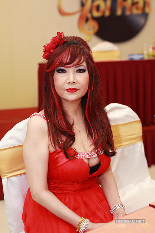 Famous singer Bao Yen goes over the top with an cut-out dress seemingly too much for anyone her age (58). Paired with a deep red dyed hair, the outfit is now suitable for any festival that requires monotonal clown.