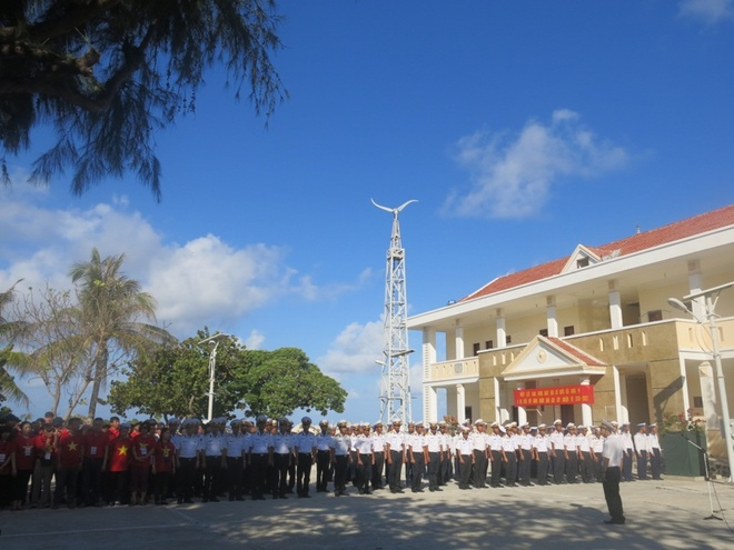 A flag ceremony on Son Ca Island