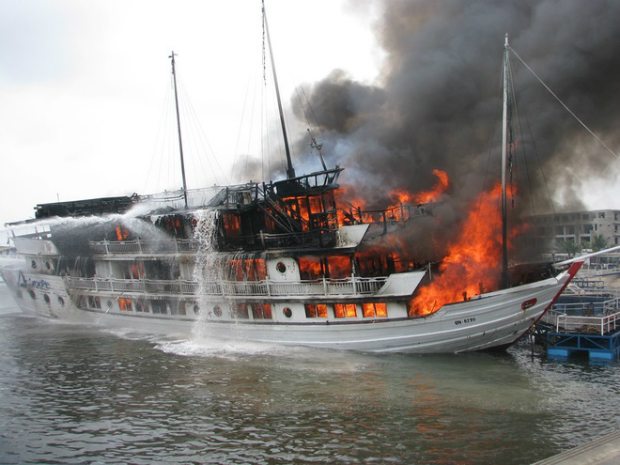 The boat, registered as QN 6299, was carrying over 40 passengers and had just arrived back at the port when the fire broke out.
