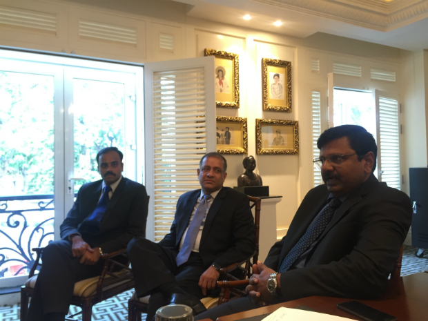 Executives of India-based information technology company Tech Mahindra, including Niraj Vedwa, senior vice president, global head of banking payments and cards (M), along with Manish Goenka, vice president and ASEAN chief (R) and Vasudevan Subramanian, head of banking, financial services and insurance in the ASEAN region (L), in an exclusive interview with VnExpress International.