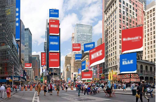 Time Square invaded by binary billboards. Photo: Facebook