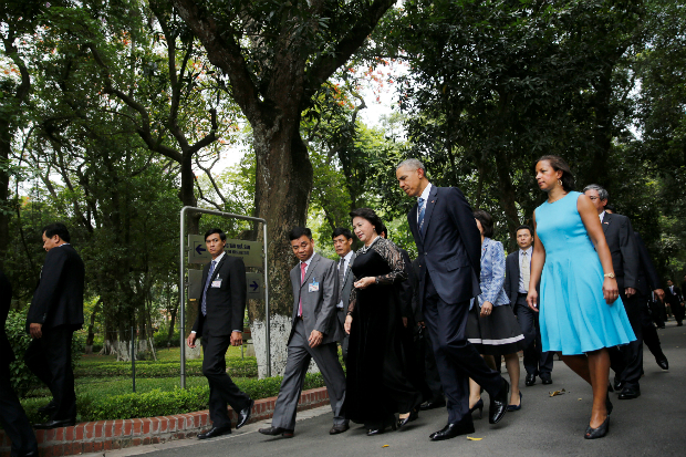 U.S. President Barack Obama and National Security Advisor Susan Rice (R) walk with Vietnam's National Assembly Chairwoman Nguyen Thi Kim Ngan (L) during a visit at the gardens of the presidential palace in Hanoi, Vietnam May 23, 2016. Photo by Reuters/Carlos Barria
