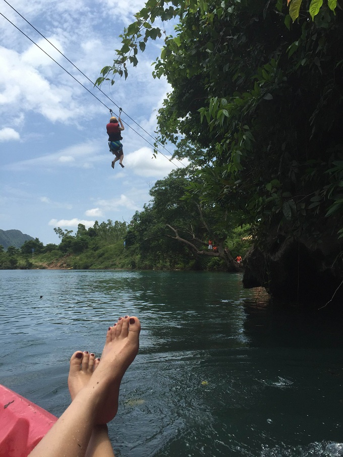 Chay River, with its year-round jade water, is an archetype in the army of inland tourist keepe, a rare place that offers zipline service in Vietnam.