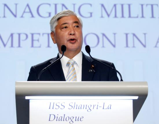 Japan's Minister of Defence Gen Nakatani speaks at the IISS Shangri-La Dialogue in Singapore June 4, 2016. Photo by REUTERS/EDGAR SU