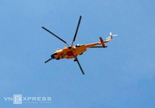 One of the helicopters on duty. Photo by VnExpress/Hai Binh