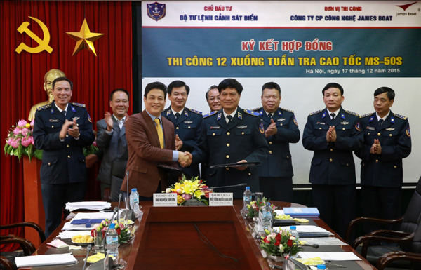 The signing ceremony for a contract to build 12 high-speed patrol boats in December 2015. Photo from Vietnam Coast Guard