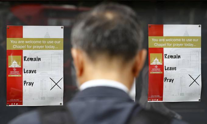 "UK polls show shift towards ""Remain"" for Thursday's EU vote"