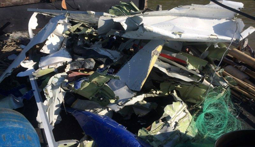 The recovered debris from CASA-212. Photo provided by locals