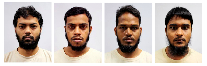four Bangladeshi nationals who were sentenced in a Singapore court July 12, 2016. From L-R, Rahman Mizanur, Miah Rubel, Md Jabath Kysar Haje Norul Islam Sowdagar, and Sohel Hawlader Ismail Hawlader. Photo by Ministry of Home Affairs