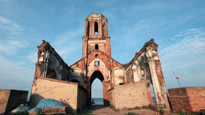 Whats left of the church is only the skeleton. All the inside has been damaged.