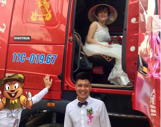 Cargo truck 'limos' whisk away blushing bride