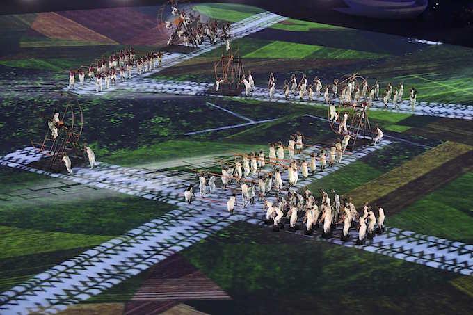 2016 Rio Olympics - Opening ceremony - Maracana - Rio de Janeiro, Brazil - 05/08/2016. Performers take part in the opening ceremony. Photo by Reuters/Richard Heathcote