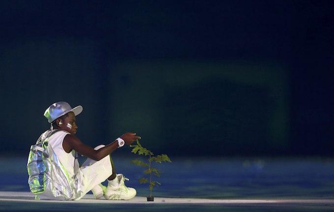 2016 Rio Olympics - Opening Ceremony - Maracana - Rio de Janeiro, Brazil - 05/08/2016. A performer takes part in the opening ceremony. Photo by Reuters/Kai Pfaffenbach