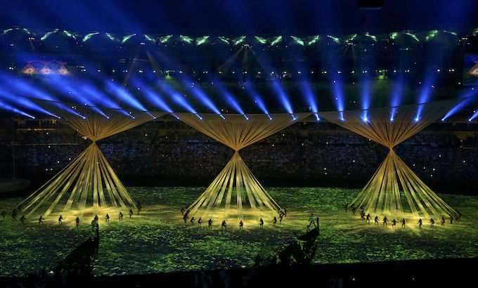 2016 Rio Olympics - Opening ceremony - Maracana - Rio de Janeiro, Brazil - 05/08/2016. Performers take part in the opening ceremony. Photo by Reuters/Antonio Bronic