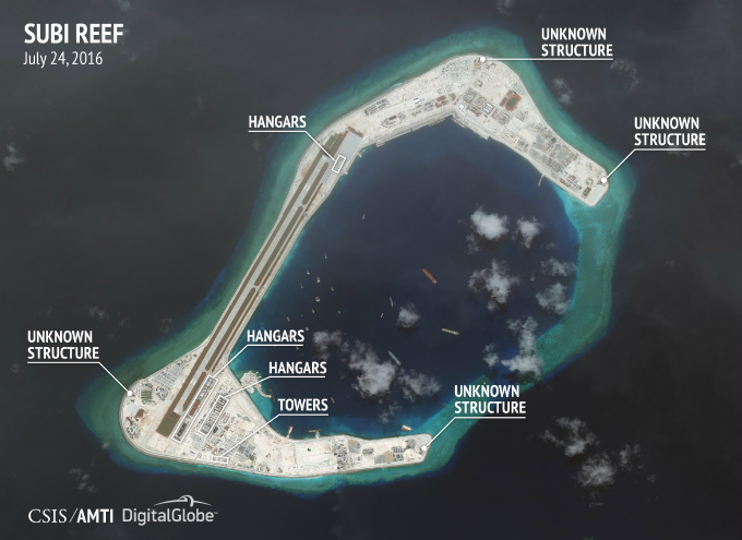 Latest photo of Subi Reef taken on April 17 2016. Possible runway construction is ongoing on the western rim of the reef.