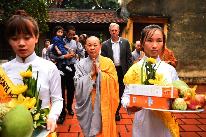 The U.S Ambassador said he came with family here to show respect for traditional Vietnamese culture.