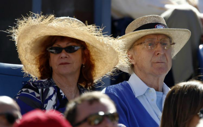 Actor Gene Wilder and his wife Karen Boyer watch the match between Rafael Nadal of Spain and Mikhail Youzhny of Russia during the U.S. Open tennis tournament in New York, September 11, 2010. Photo by Reuters/Kevin Lamarque/Files