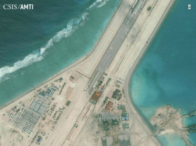 The center portion of the Subi Reef runway is shown in this Center for Strategic and International Studies (CSIS) Asia Maritime Transparency Initiative January 8, 2016. Photo by CSIS/Files