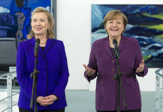 Clinton (left) and Merkel have known each other for decades. Photo by Reuters/File Photo