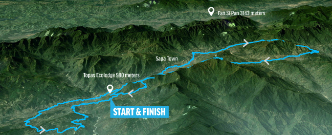 The route map of 100km event, made up of two loops, 34km and 70km with the same Start and Finish points.