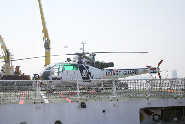 A helicopter seen onboard the Indian Coast Guard ship in Da Nang City. Photo by Sai Gon Giai Phong Online news site