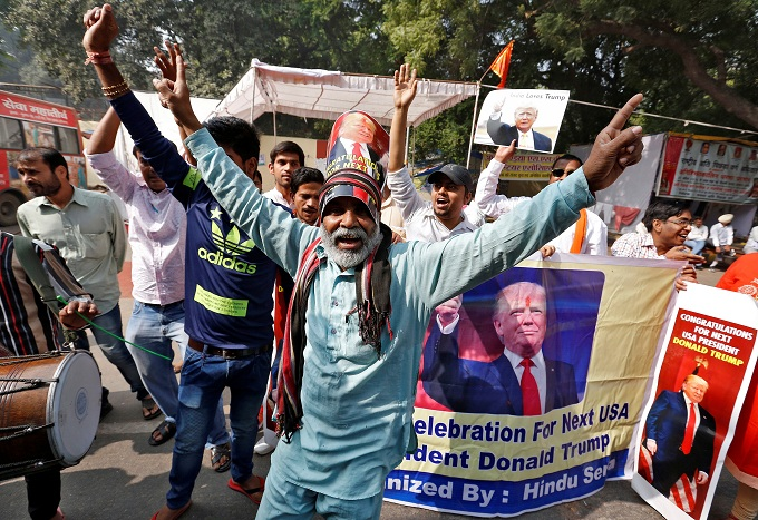 Members of Hindu Sena, a right-wing Hindu group, celebrate Republican presidential nominee Donald Trumps victory in the U.S. elections, in New Delhi, India, November 9, 2016. Photo Reuters/Cathal McNaughton