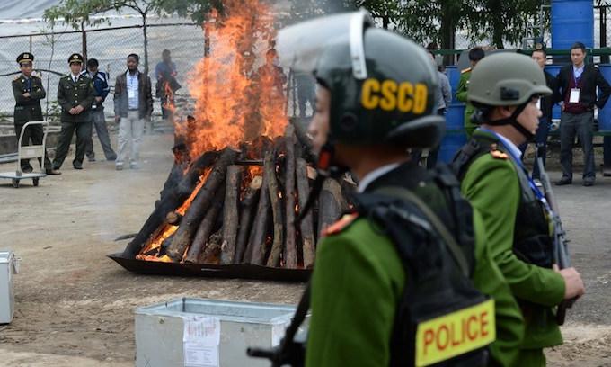 Vietnam destroys huge ivory, rhino horn cache