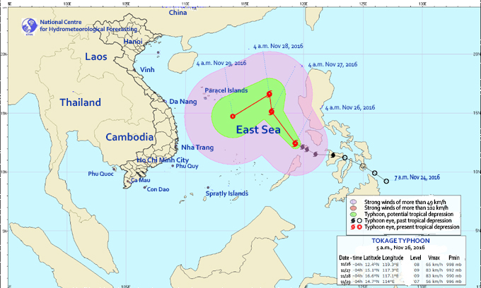 Typhoon Tokage to bring heavy rain, wind to central Vietnam this weekend