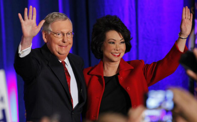 Elaine Chao with her husband U.S. Senate Minority Leader Mitch McConnell. Photo by Reuters/John Sommers II/File Photo
