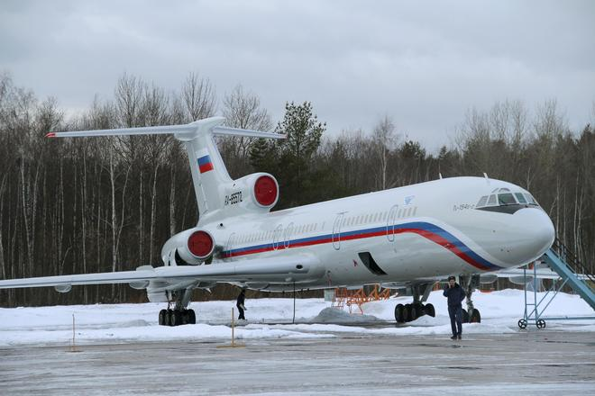 Tupolev Tu-154 stands on tarmac of Chkalovsky military airport north of Moscow A Tupolev Tu-154 stands on the tarmac of the Chkalovsky military airport north of Moscow, Russia January 15, 2015. Picture taken January 15, 2015. Photo by Reuters/Dmitry Petrochenko