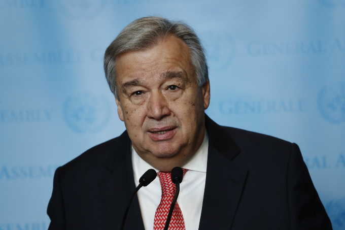 United Nations Secretary-General-designate Mr. Antonio Guterres of Portugal speaks to members of the media after being sworn in at UN headquarters in New York, U.S., December 12, 2016. REUTERS/Lucas Jackson