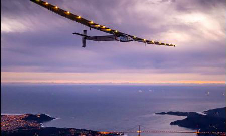 Solar Impulse 2, a solar-powered plane piloted by Bertrand Piccard of Switzerland, flies over the Golden Gate bridge in San Francisco, California, U.S. Photo by: Reuters