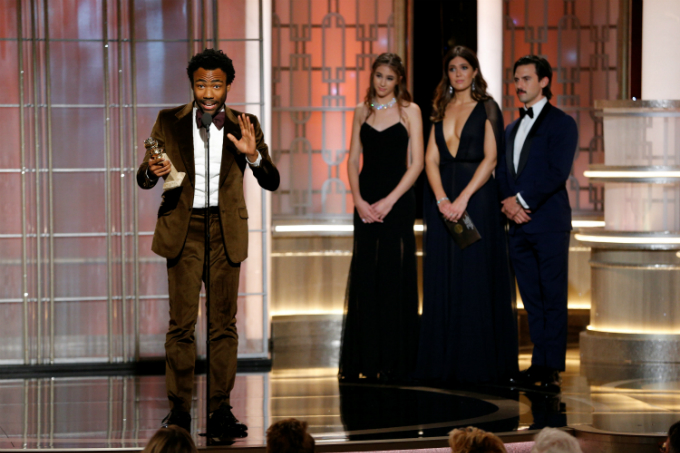 Donald Glover holds the award for Best Actor in a Television Series - Musical or Comedy for Atlanta during the 74th Annual Golden Globe Awards show in Beverly Hills