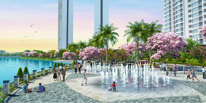 Facilities around the complex, including a cherry blossom park, represent a new style in Phu My Hungs quality housing development.