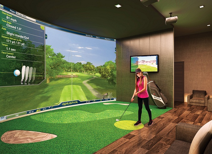 Golf simulation studio inside The Grande.