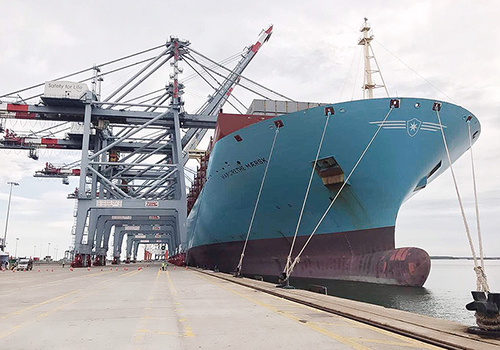 World's largest container ship docks in southern Vietnam
