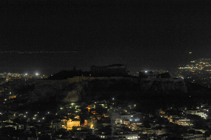 The hill of the Acropolis is pictured during Earth Hour in Athens, Greece, March 25, 2017. REUTERS/Michalis Karagiannis