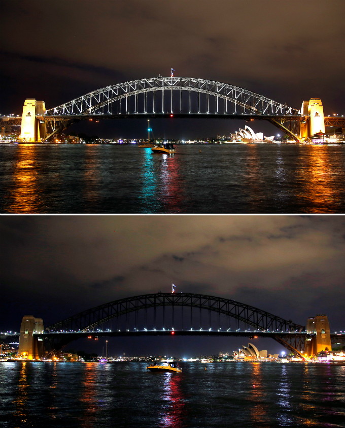 A combination photo shows the Sydney Harbour Bridge before and during the tenth anniversary of Earth Hour in Sydney, Australia, March 25, 2017. REUTERS/David Gray