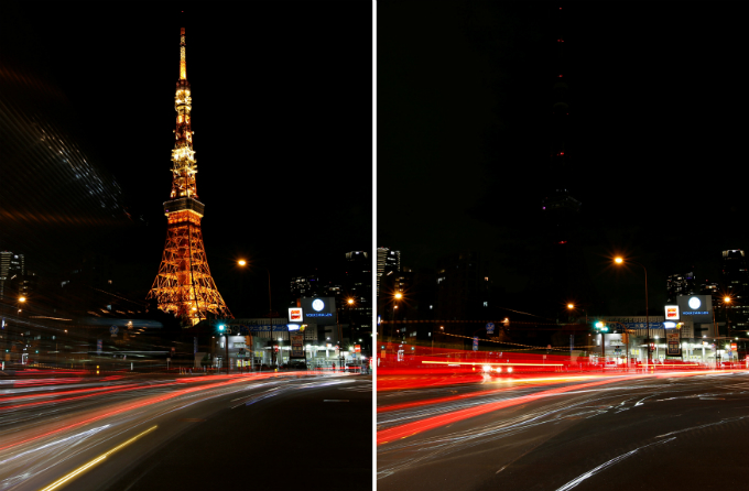 A combination photo shows the Tokyo Tower before (L) and after its lights were switched off for Earth Hour in Tokyo, Japan March 25, 2017. REUTERS/Issei Kato