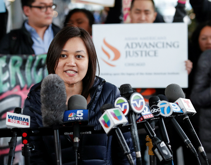 Tuyet M. Le, Executive Director of Asian American Advancing Justice, speaks during a protest of the treatment of Dr. David Dao, who was forcibly removed from a United Airlines flight on Sunday by the Chicago Aviation Police, at OHare International Airport in Chicago, Illinois, U.S., April 11, 2017. Photo by Reuters/Kamil Krzaczynski