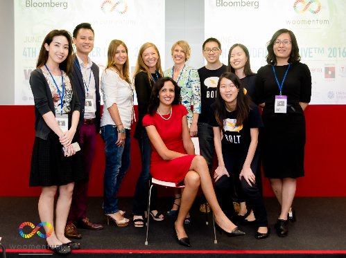 Startups with Mouna Aouri (sitting), CEO of Woomentum. Photo courtesy of Woomentum
