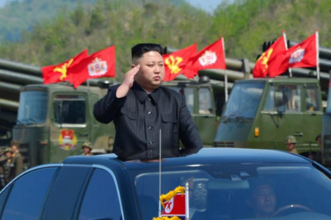 North Koreas leader Kim Jong Un watches a military drill marking the 85th anniversary of the establishment of the Korean Peoples Army (KPA) in this handout photo by North Koreas Korean Central News Agency (KCNA) made available on April 26, 2017. KCNA/Handout via Reuters