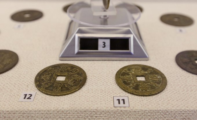 The exhibition has an area for displaying false coins. Back then, coins were cast manually and errors were a usual thing.