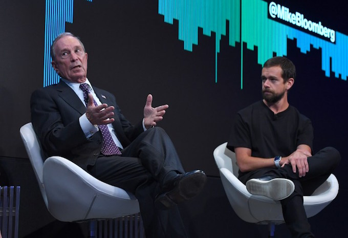 Twitter CEO Jack Dorsey (R) joins Bloomberg Founder Michael Bloomberg to announce a joint venture to launch a 24-hour news network, expanding the social media companys push into video during an event at Bloomberg headquarters in New York May 1, 2017.  Photo by AFP/Timothy A. Clary