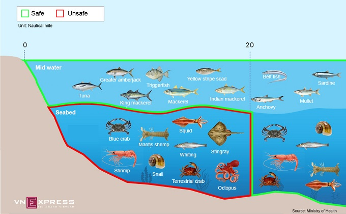 Deep water fish within 20 nautical miles of the central coast is deemed unsafe. Infographic by Viet Chung