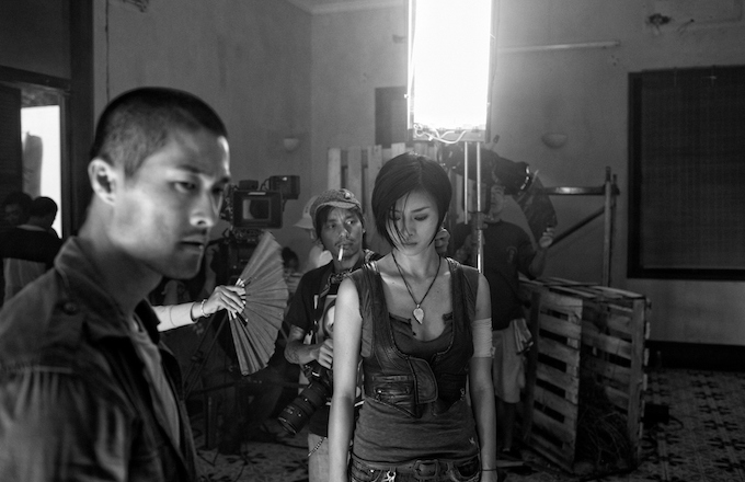 Actors Johnny Tri Nguyen and Ngo Thanh Van prepare to film a scene from the movie Clash.