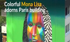 Paris building dressed up in vivid Mona Lisa mural