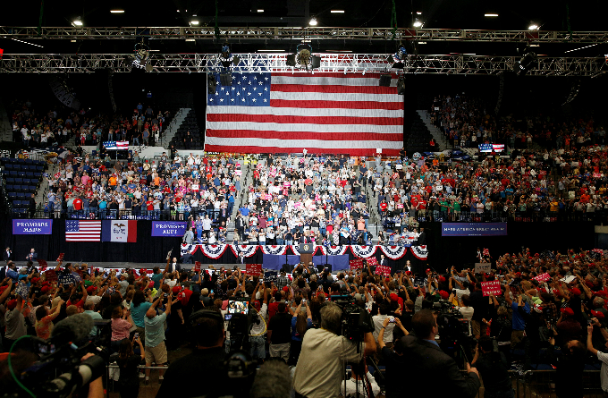 U.S. President Donald Trump speaks during a rally at the U.S. Cellular Center in Cedar Rapids, Iowa, U.S. June 21, 2017. Photo by Reuters/Scott Morgan
