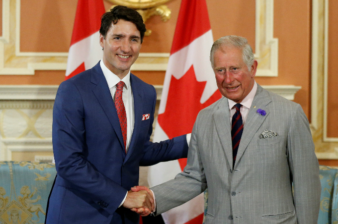 Britains Prince Charles meets with Canadas Prime Minister Justin Trudeau at Rideau Hall in Ottawa, Ontario, Canada July 1, 2017. Photo by Reuters/Chris Wattie