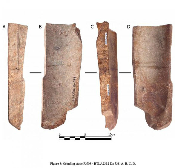 The stone grinding tools found at Rach Nui in Southern Vietnam which were used for making tools such as axe heads. Photo courtesy: Australian National University